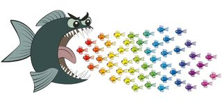Big Fish Eating Many Small Colorful Fish Comic. Big fish eating many colorful little fish, imprudent and careless as if in hypnotic trance - symbolic for Stock Photography
