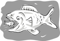 Big fish eating small fish. Cartoon illustration of a small fish swimming happily inside the mouth of big fish Stock Photo