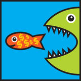 Big fish is eating small fish with dollar signs Stock Photos
