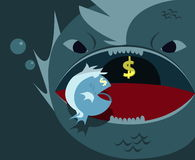 Big fish eats little fish. (business concept Royalty Free Stock Image