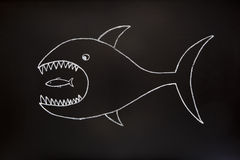 Big fish eats small one. The big fish eats the small one. Conceptual image made with chalk on a blackboard Royalty Free Stock Photography