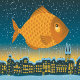 Big fish flies. Through the sky on the roofs of the old town Stock Images