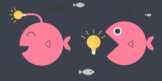 Big fish idea conceptual. Vector flat design Royalty Free Stock Photo