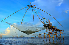 The big Fish lift nets in lake Stock Image