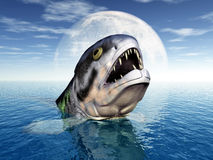 Big Fish with Moon Backdrop. Computer generated 3D illustration with Rhizodus Stock Images