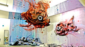 Big fish. A mural at a mall in lisbon that represents fish royalty free stock images