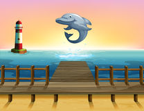 A big fish at the port. Illustration of a big fish at the port Royalty Free Stock Images