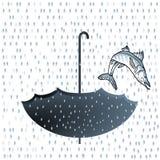 Big fish rainfall. Big fish jump and rainfall Royalty Free Stock Photos
