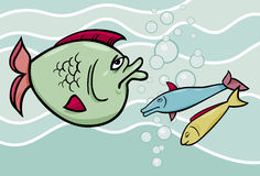 Big fish in the sea cartoon illustration Royalty Free Stock Image