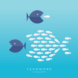 Big Fish Small Fish Teamwork Concept. Teamwork Concept Illustration with Big Fish chasing Small fish and Fish group chasing Big fish Royalty Free Stock Photography