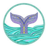 Big fish. Stylized hand drawn whale tail in ocean waves, vector illustration, round decorative element Royalty Free Stock Photography