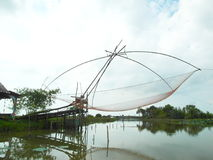 Big fish trap. Or large square dip net Thai call `yor` make from bamboo and net for catching and holding fish, Klong Pak Pra fisherman village, Phatthalung Royalty Free Stock Photo