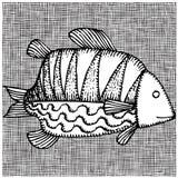 Big fish woodcut. Black and white drawing of artistic big fish woodcut royalty free illustration