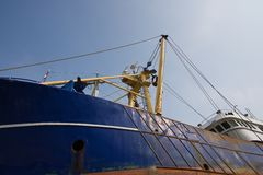 Big fishing cutter at a shipyard for maintenance Stock Photo
