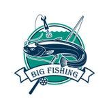 Big Fishing sport club emblem. Fishing club emblem. Vector fisherman sport adventure sign with circle badge and big catfish or eel fish caught on fishing rod Stock Image