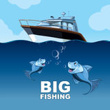 Big fishing. Vector picture with fishing from the yacht in the high sea Stock Photography
