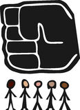 Big Fist Over People. Giant fist of power hangs above a small diverse group of people Royalty Free Stock Photography