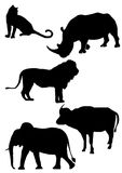 Big five Africa silhouette. African's big five in silhouette Royalty Free Stock Images