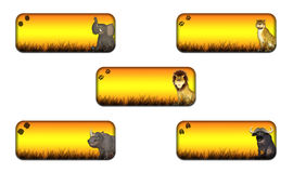 Big Five Safari Banner Pack. Illustration of a pack of four (4) different safari themed banners/headers on a white background Royalty Free Stock Photography