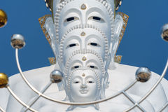 Big five white buddha at Wat Pha Sorn Kaew. Also is a Buddhist monastery and temple in Khao Kor, Phetchabun, Thailand. They are public domain or treasure of Stock Images