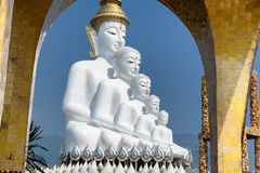 Big five white buddha at Wat Pha Sorn Kaew. Also is a Buddhist monastery and temple in Khao Kor, Phetchabun, Thailand. They are public domain or treasure of Stock Photography
