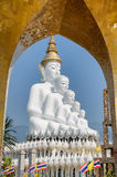 Big five white buddha at Wat Pha Sorn Kaew. Also is a Buddhist monastery and temple in Khao Kor, Phetchabun, Thailand. They are public domain or treasure of Royalty Free Stock Images
