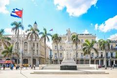 Magic old havana. Big flag in beautiful and magic old havana, Cuba Stock Photography