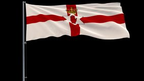 Big flag of Northern Ireland, 4k prores 4444 footage with alpha. Isolate big flag of Northern Ireland on a flagpole fluttering in the wind on a transparent stock illustration