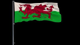 Big flag of Wales, 4k prores 4444 footage with alpha transparency. Isolate big flag of Wales on a flagpole fluttering in the wind on a transparent background, 3d stock illustration