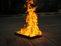 Big flame on fire fighter Stock Photography