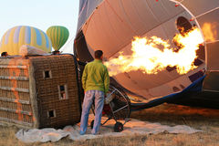 Big flame inside a balloon in Cappadocia, Turkey Royalty Free Stock Photography