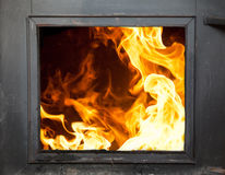 Incinerator. Big flames in the fireplace - incinerator Royalty Free Stock Photo