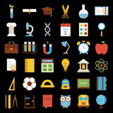 Big Flat Back to School Objects Set over Black Background Royalty Free Stock Photos
