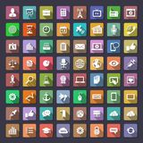 Big flat icons collection. 64 icons for web and app. Flaticons series (metro style flat icons with long shadow Stock Photography