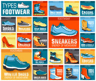 Big flat illustration collection set of shoe wear classic, retro, trend, sport style backgrounds. Vector concept Stock Photography