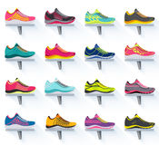 Big flat illustration collection set of sneakers running, walking, shopping, style backgrounds. Vector concept elements Royalty Free Stock Photo