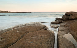 Big flat rocks at seaside Royalty Free Stock Photos