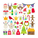 Big Flat Style Vector Collection of Merry Christmas Objects Royalty Free Stock Images