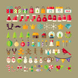 Big Flat Style Vector Collection of Winter Holidays Objects Stock Photography