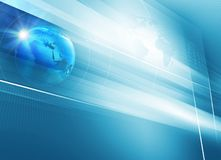 Big flat tv screen with 3d earth globe blue theme background. 3d Illustration Stock Image