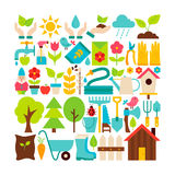 Big Flat Vector Collection of Spring Garden Objects Stock Photos