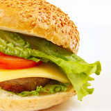 Big flavorful sandwich with cheese and chop closeup Stock Photo
