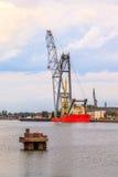 Big floating crane Stock Photo