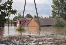 Big flood. House sunk during the flood Royalty Free Stock Images
