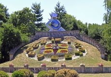 Big floral clock in Timisoara city park Royalty Free Stock Images