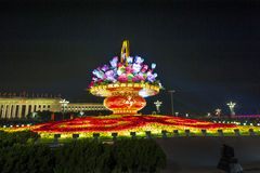 Big flower basket at Tiananmen Square in the night Stock Images