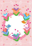 Big Flower Bird Circle Frame_eps. Illustration of big flower around star circle with birds Stock Image