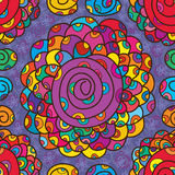 Big flower color swirl seamless pattern Royalty Free Stock Image