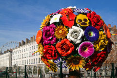 Big flower in Lyon. Big display flower in Lyon royalty free stock image