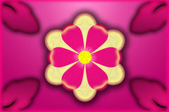 Big flower with pink and yellow petals Royalty Free Stock Images